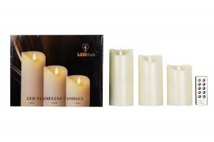 LEDHub Flameless Candles 3pc Pack (1pc-3″x5″,1pc-3″x6″,1pc-3″x7″)