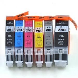 Compatible 250 251 (1 Black, 1 Photo Black, 1 Cyan, 1 Magenta, 1 Yellow and 1 Gray)