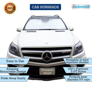 Bigger (63″x33″) and Thicker (210T) car windshield shade