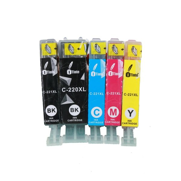iTinte PGI 220/CLI 221 XL Canon Ink Cartridges: PGI 220 (1 Black) CLI 221 (1 Black, 1 Cyan, 1 Magenta, 1 Yellow) 5 Pack