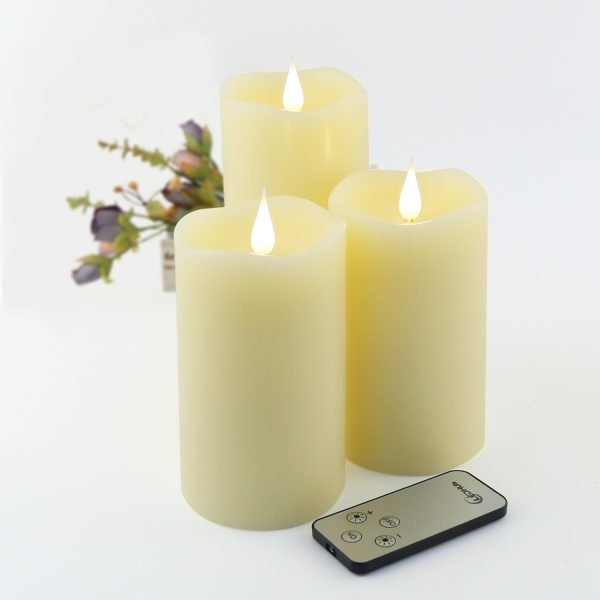 """Flameless Candle 5"""" Set of 3 : Battery Operated (Energizer Batteries Included 550 hours battery life) , With Conical Wick, Remote And Timer – New Version"""