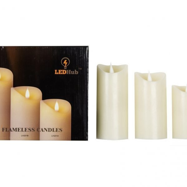 LED Hub 3″x5″ Flameless Candles: 2-C Battery Operated Candles, With Remote And Timer