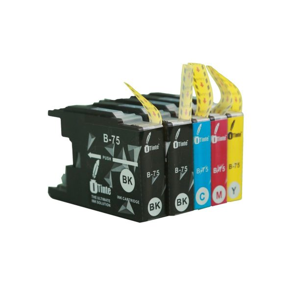 iTinte Compatible Brother Ink Cartridges LC75 XL (2 Black, 1 Cyan, 1 Magenta, 1 Yellow) 5 Pack