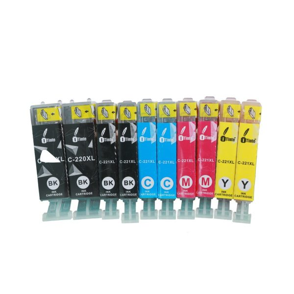 iTinte PGI 220/CLI 221 XL Canon Ink Cartridges: PGI 220 (2 Black), CLI 221 (2 Black, 2 Cyan, 2 Magenta, 2 Yellow) 10 Pack