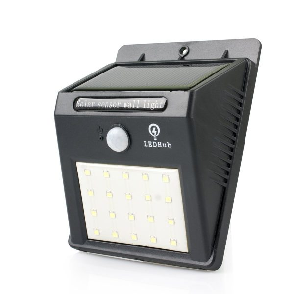 LED Hub 20 LED No Drill, Wireless Solar-Powered Motion Detector Light