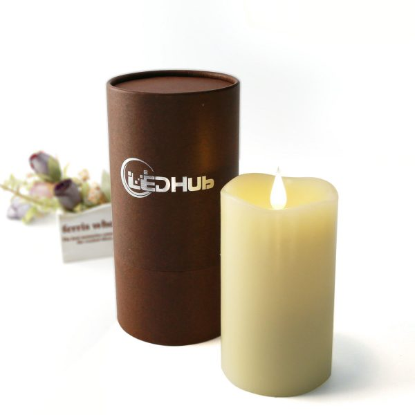 """Flameless Candle 5"""" With Conical Wick: Battery Operated (Energizer Batteries Included 550 hours battery life) – With Remote And Timer – New Version"""