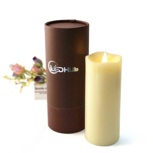 ledhub 7u2033 flameless candle with conical wick battery operated energizer batteries included 550 hours battery life with remote and timer u2013 new version - Flameless Candles With Timer